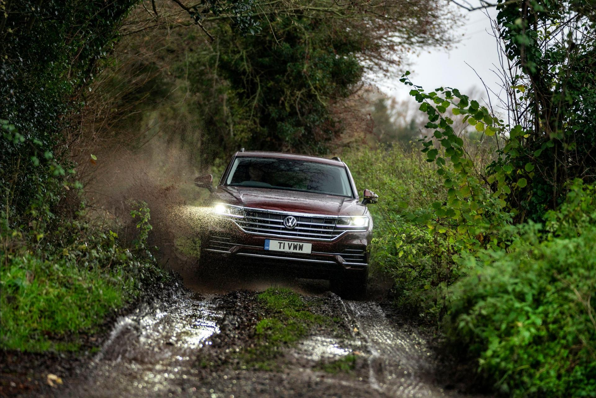 Permanent four-wheel-drive means the Touareg is well suited to tricky terrain.