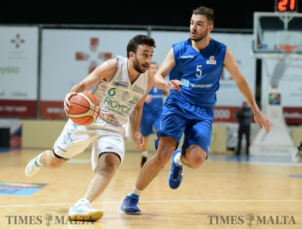 Floriana mount an attack on Starlites during their league match at the Ta'Qali Pavilion on February 26. Photo: Matthew Mirabelli