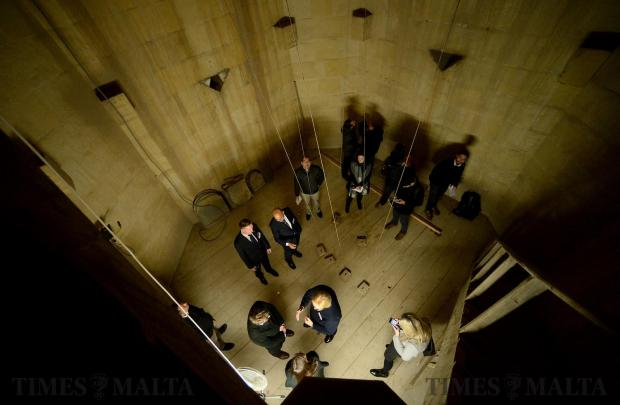 Members of the media are shown around St Paul's Anglican Pro-Cathedral bell tower in Valletta on February 9, as a campaign is launched to raise €3 million to fix severe architectural problems affecting the stonework of the church and its iconic 60-metre bell tower. Photo: Matthew Mirabelli