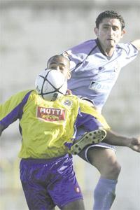 Marsaxlokk`s Jamie Pace shields the ball from the high challenge of Stefan Giglio, the Sliema Wanderers midfielder, at the Hibs Ground yesterday. Photo: Darrin Zammit Lupi