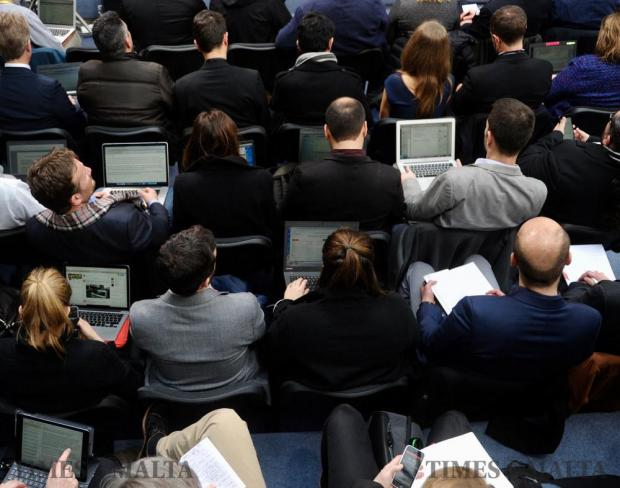Journalists report at the opening press conference of the Malta EU Presidency on January 11. Photo: Steve Zammit Lupi