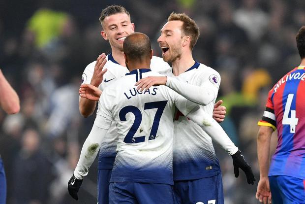 Tottenham's Christian Eriksen (right) celebrates his first goal at the new Tottenham Hotspurs Stadium wth Lucas Moura and Toby Alderweireld.