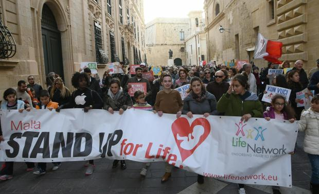 A pro-life manifestation in Valletta.