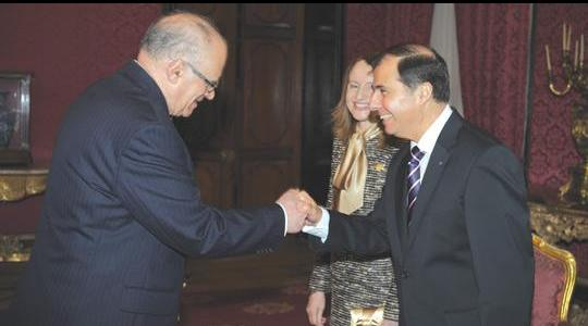 Dr Abela greets Ugo Mifsud Bonnici.