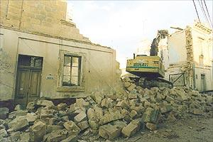 The demolished façade of Palazzo Fremaux in Zejtun.