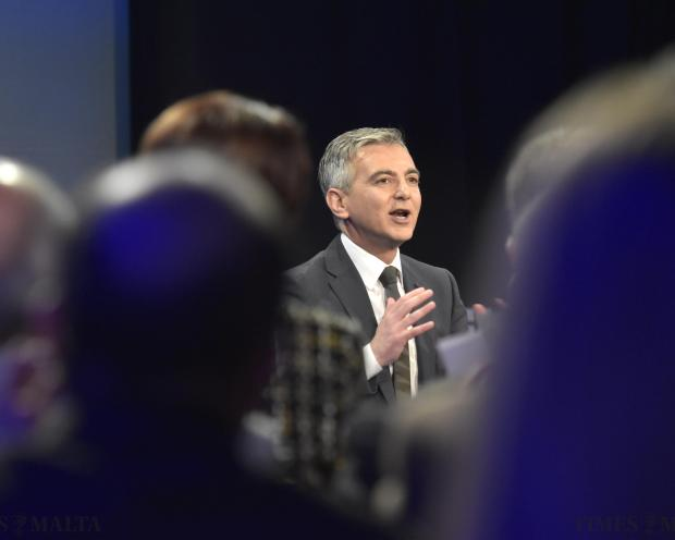 Simon Busuttil addresses Nationalist Party supporters at the Dar Centrali in Pieta on December 6. Photo: Mark Zammit Cordina
