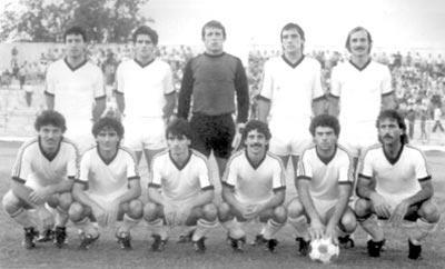 Rabat Ajax - 1984-85 season. (Standing) R. Scerri, M. Scicluna, I. Filipov, A. McGonigle, E. Cortis. (Squatting) M. Zahra, E. Azzopardi, C. Busuttil, E. Caruana, C. Scerri, J. Borg.