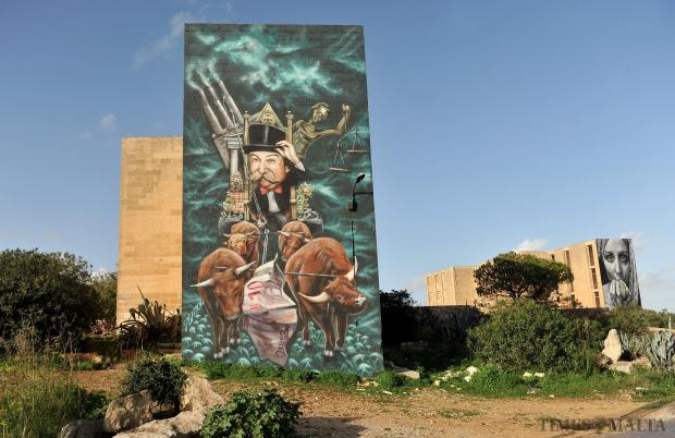 Two graffiti murals at the White Rocks complex in Bahar ic-Caghaq are seen on December 17. Photo: Chris Sant Fournier