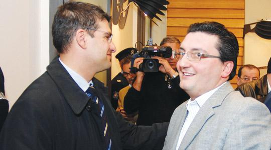 Siġġiewi mayor Robert Musumeci congratulating Żebbuġ councillor Peter Micallef who was elected MP during a casual election contested by both of them. Photo: Matthew Mirabelli.