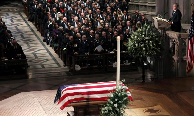 Former U.S. President George W. Bush delivers eulogy at state funeral for his father former U.S. President George H.W. Bush at Washington National Cathedral. Photo: Reuters/Jonathan Ernst.