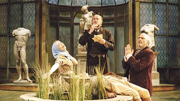 Sarah Twomey as Fabia, Adrian Edmondson as Malvolio and John Hodginson as Sir Toby Belch in Twelfth Night.