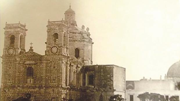 An old picture of St Publius church in Floriana.