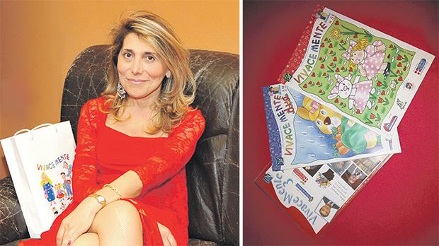 Rossana d'Ambrosio. Right: Her award-winning magazines for children and adults.