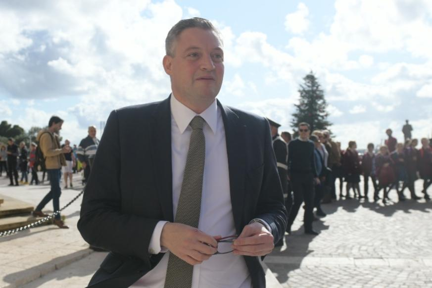 Konrad Mizzi leaving the Cabinet meeting.