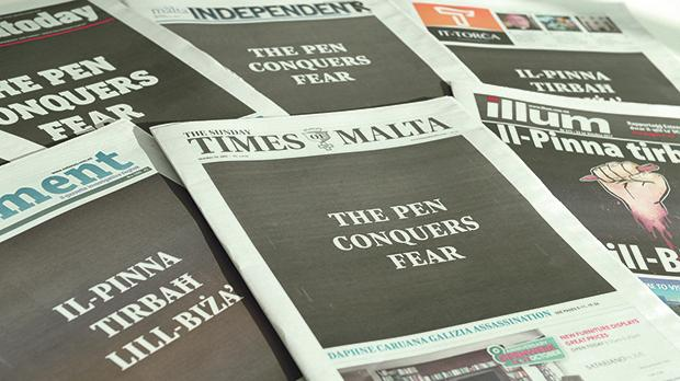 The front pages shortly after the murder of Daphne Caruana Galizia. Photo: Matthew Mirabelli