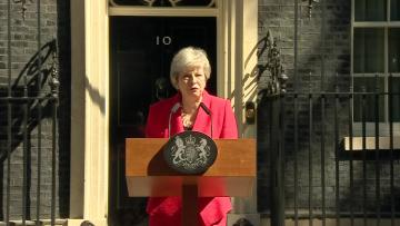 Watch: Britain's May announces resignation in emotional end