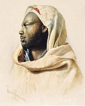 The painting of a Sudanese tribesman by Thomas Formosa.