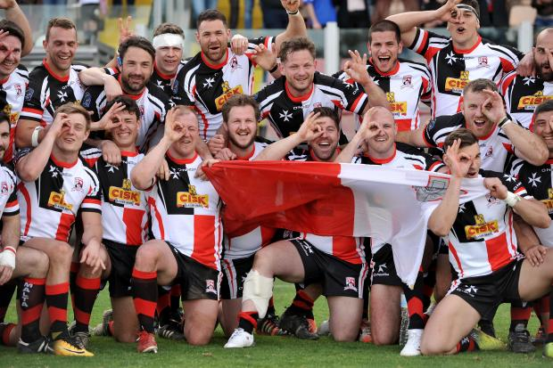 The Malta Rugby team celebrate after thrashing Andorra 89-3 on at the Hibernians stadium on March 24.  Photo:  Chris Sant Fournier