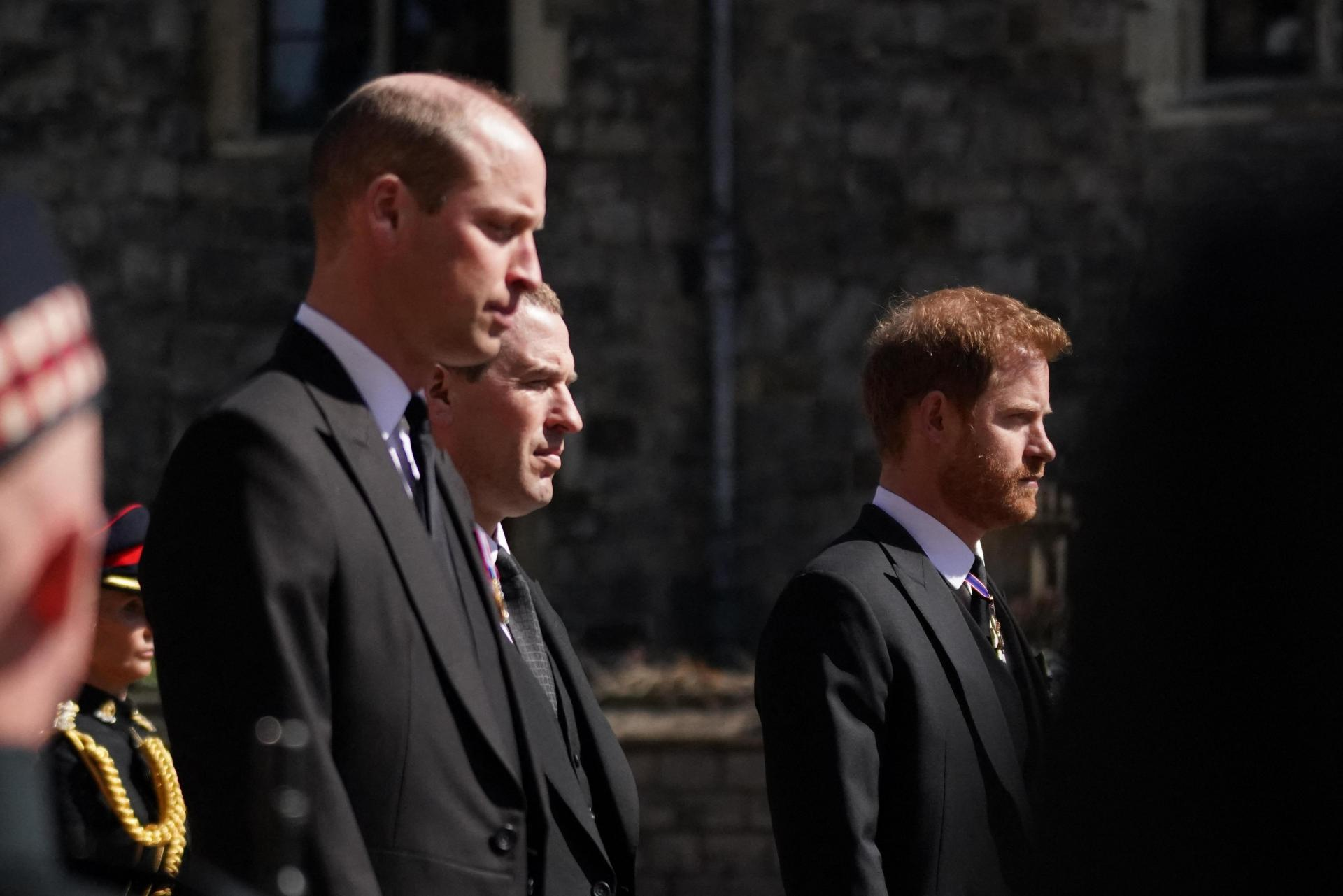 Prince William (left) and Prince Harry (right) attending the service. Photo: Victoria Jones/Pool/AFP.