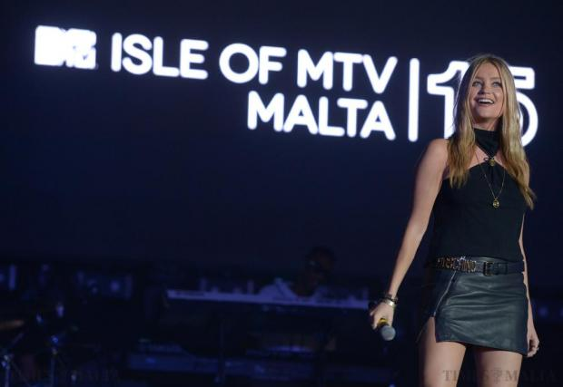 TV presenter Laura Whitmore takes to the stage during the Isle of MTV Concert on the Granaries in Floriana on July 7. Photo: Matthew Mirabelli