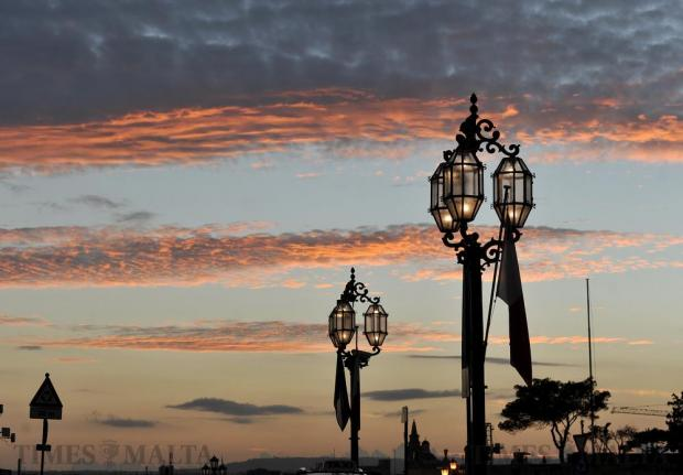 Valletta street lamps and a colourful sky on November 23. Photo: Chris Sant Fournier