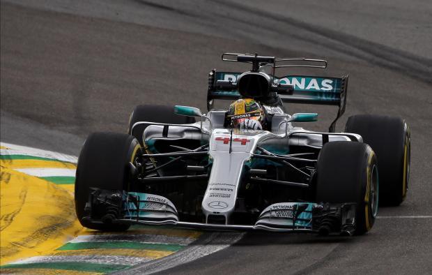 Mercedes' Lewis Hamilton of Britain during second practice.