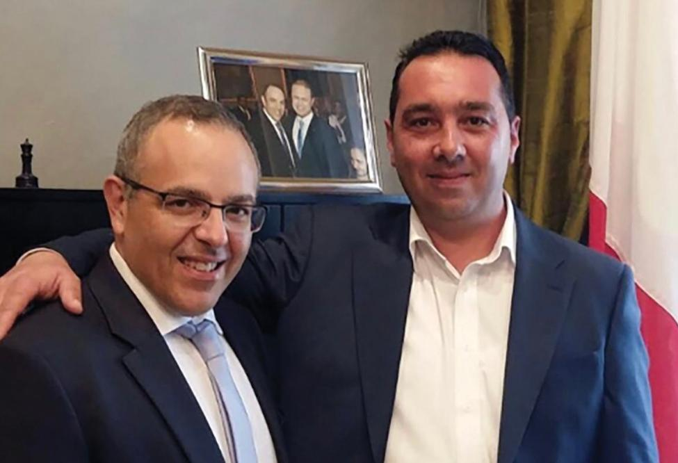 Keith Schembri and Melvin Theuma pictured at Castille.