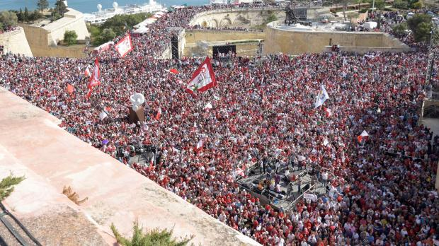 Dr Muscat told crowds in Valletta that an election will be held on June 3. Photo: Mark Zammit Cordina