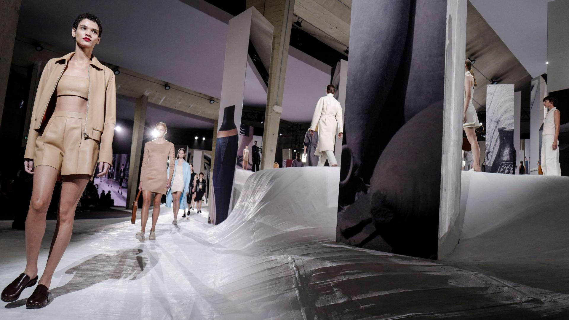 Models present creations by Hermes during the Womenswear Spring/Summer 2021 shows, as part of the Fashion Week in Paris on October 3 of last year. Photo: Lucas Barioulet/AFP