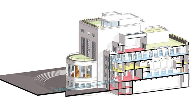 Architect's plan and details in colour.