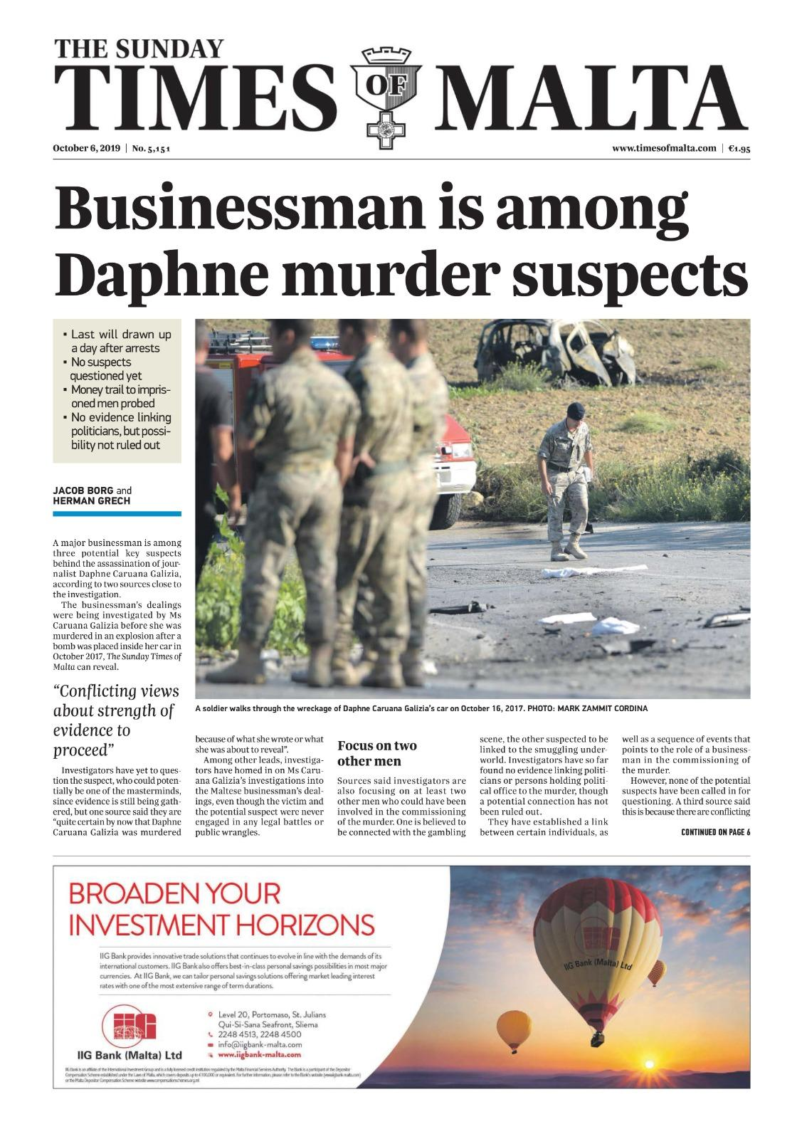 The front page of Times of Malta