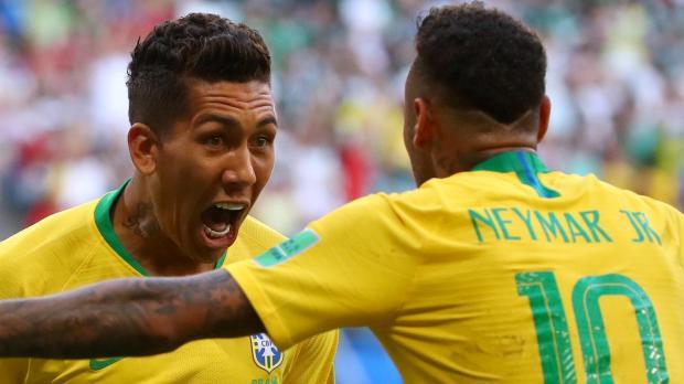 Brazil's two most recent goalscorers - Roberto Firminho and Neymar. Photo: Reuters