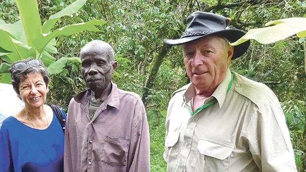 Rita Miller and Paul Warren meeta leprosy sufferer, who is being cared for by Kagando Hospital, during an outreach trip in Uganda.