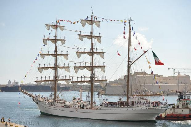 The Mexican Navy training ship Cuauhtémoc is seen shortly after arriving at Grand Harbour on August 21. Photo: Chris Sant Fournier