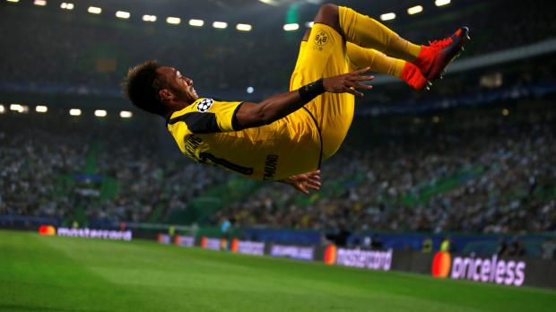 Borussia Dortmund's Pierre-Emerick Aubameyang celebrates his goal against Sporting. Photo: Rafael Marchante, Reuters