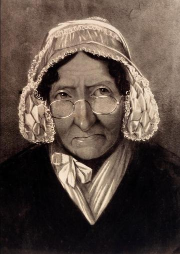 Marie Tussaud as an old woman, based on a drawing attributed to one of her sons, Francis.