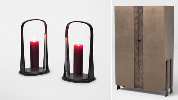 Hurricane lamps. Right: Thaddells cabinet.