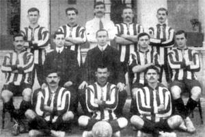 The Floriana team of the 1908-10 period. Guzeppi Vella is seen in the photo standing second from left. His brother, Manwel, is squatting on the left in the front row.