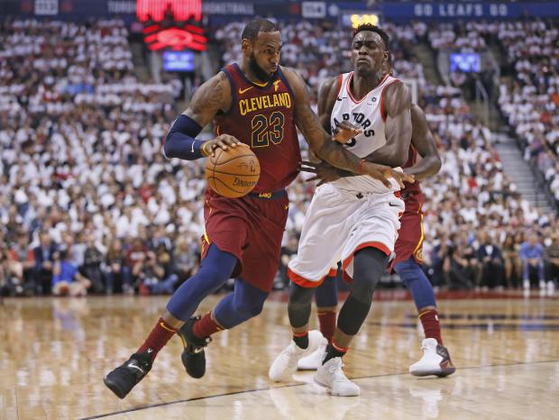 Cleveland Cavaliers forward LeBron James (23) drives to the net against Toronto Raptors forward Pascal Siakam (43) during the first half of game one of the second round of the 2018 NBA Playoffs at Air Canada Centre. Photo Credit: John E. Sokolowski-USA TODAY Sports