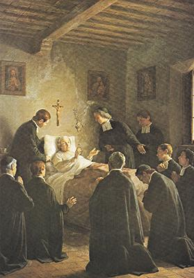 John Baptist De La Salle on his death bed surrounded by his fellow Brothers, by Giovanni Gagliardi, 1901