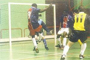 Action from a First Division Futsal League match at the Corradino Sports Pavilion.