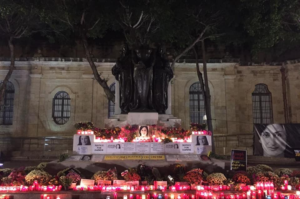 The memorial just hours before it was cleared. Photo: Justice for Daphne Caruana Galizia Facebook page