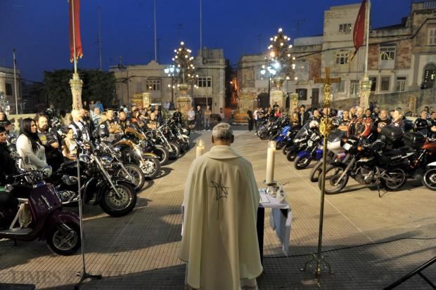 Motorbikes and riders gather on the Trinity Church's parvis in Marsa on May 11 to remember fellow riders who died. Photo: Chris Sant Fournier