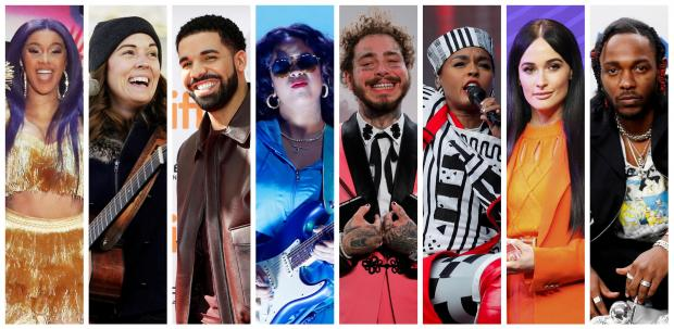 Grammy Award nominations in Album of the Year category includes artists in this combination photo L-R: Cardi B, Brandi Carlile, Drake, H.E.R., Post Malone, Janelle Monae, Kacey Musgraves and Kendrick Lamar.