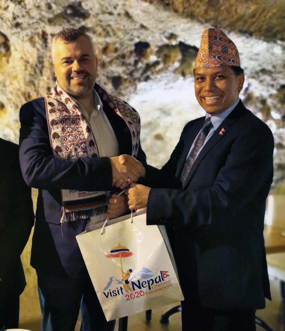 Tomas Mikalauskas (left), president of the Malta-Nepal Chamber of Commerce and CEO of RecruitGiant, together with Durga Bahadur Subedi, Ambassador of Nepal to Malta.