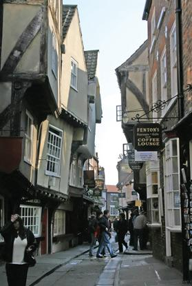 The Shambles is York's most famous 'ginnel' (narrow alley).