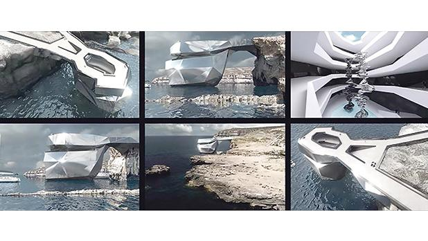 Architect Svetozar Andreev's proposal called 'The heart of Malta', a polygonal structure made up of mirrored steel faces.