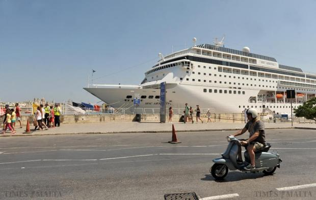 Cruise ship MSC Armonia dominates the background at the Valletta Waterfront on June 3. Photo: Chris Sant Fournier