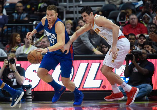 Blake Griffin charges forward for the LA Clippers at Atlanta Hawks.