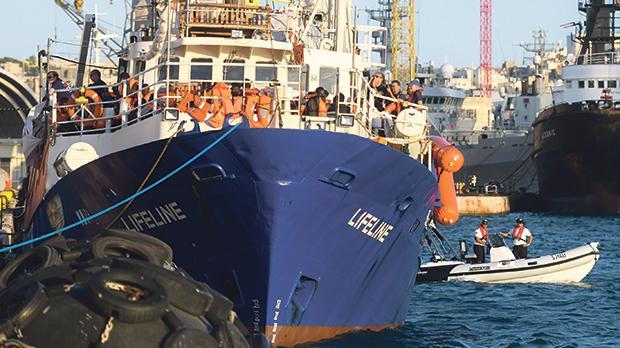 The Lifeline arriving in Malta in June. Photo: Jonathan Borg